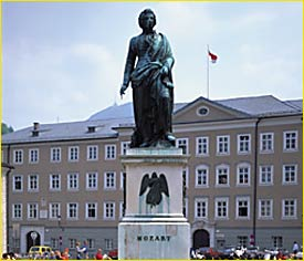 Mozart Square with Mozart Statue